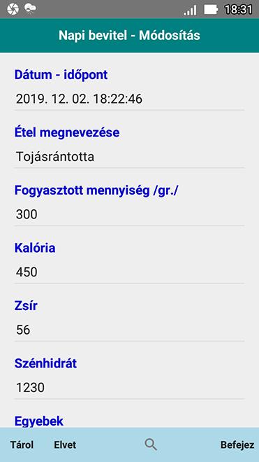 Szűcs Zoltán - Kalória Táblázat és Bevitel Napló - Android..